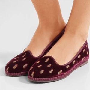 NWOT Aquazzura ananas embroidered velvet slippers